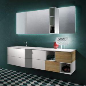 bagno bianco e legno