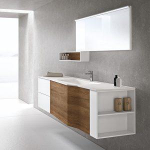 mobili e specchio per bagno bianco e marrone