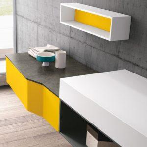 mobile per lavandino giallo e grigio